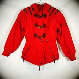 Obermeyer Vintage Fire Truck Red Ski Jacket Size 4